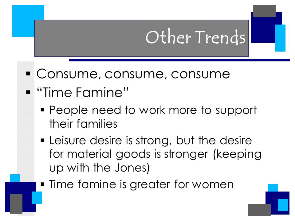Other Trends  Consume, consume, consume  Time Famine  People need to work more to support their families  Leisure desire is strong, but the desire for material goods is stronger (keeping up with the Jones)  Time famine is greater for women