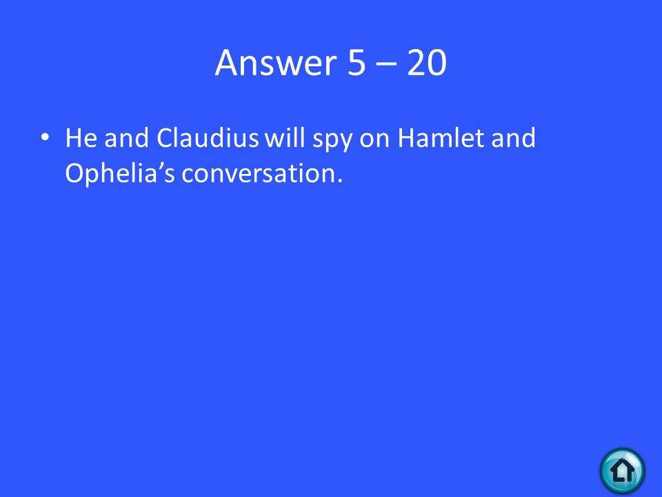 Answer 5 – 20 He and Claudius will spy on Hamlet and Ophelia's conversation.