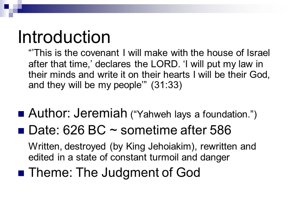 Kings Josiah (640-609) Jeremiah came in the 13 th yr of his reign Jehoahaz (609) Jehoiakim (~597): A puppet king under Egypt and Babylon.