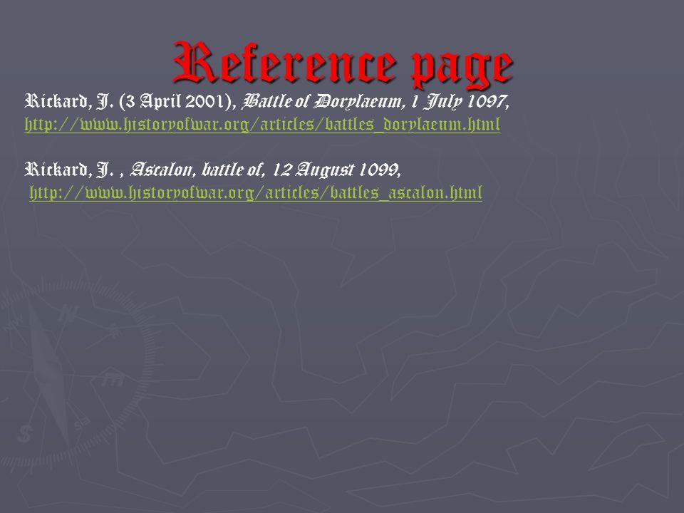 Reference page Rickard, J.