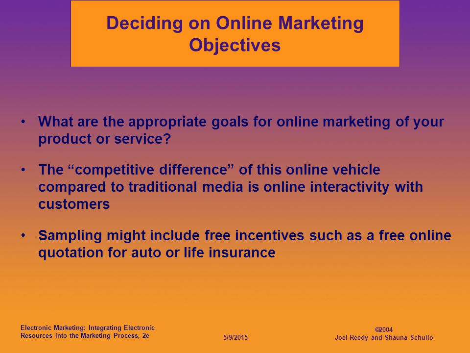 Electronic Marketing: Integrating Electronic Resources into the Marketing Process, 2e 5/9/2015  2004 Joel Reedy and Shauna Schullo Deciding on Online Marketing Objectives What are the appropriate goals for online marketing of your product or service.