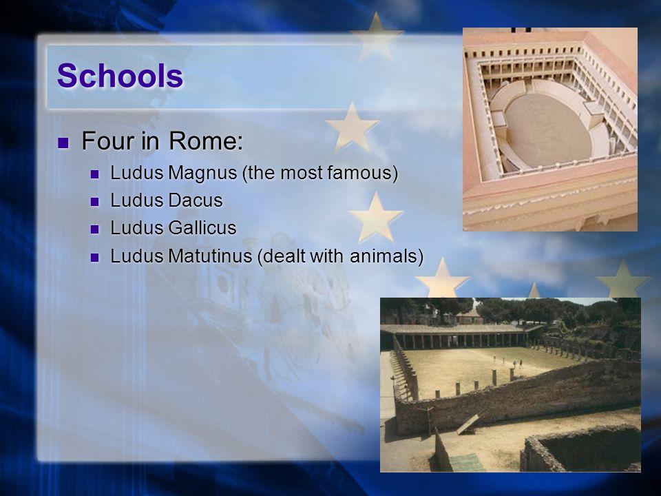 Schools Four in Rome: Ludus Magnus (the most famous) Ludus Dacus Ludus Gallicus Ludus Matutinus (dealt with animals) Four in Rome: Ludus Magnus (the most famous) Ludus Dacus Ludus Gallicus Ludus Matutinus (dealt with animals)