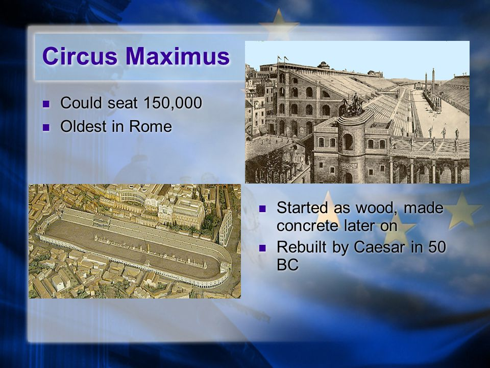 Circus Maximus Could seat 150,000 Oldest in Rome Could seat 150,000 Oldest in Rome Started as wood, made concrete later on Rebuilt by Caesar in 50 BC