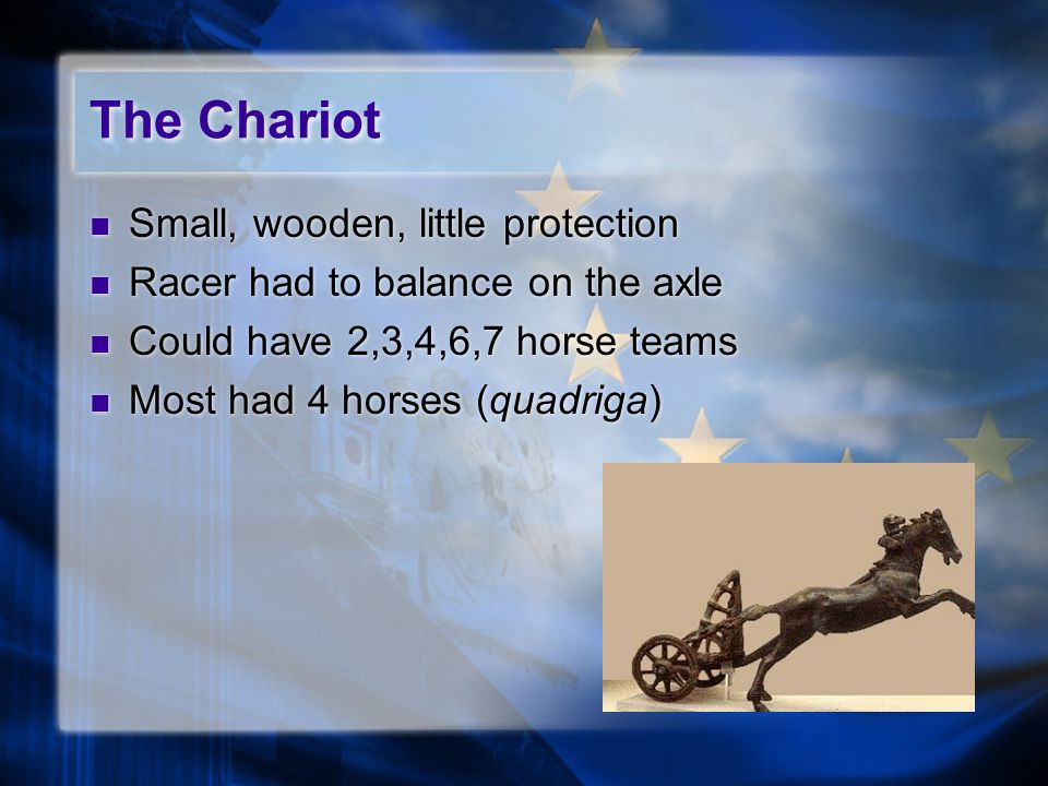 The Chariot Small, wooden, little protection Racer had to balance on the axle Could have 2,3,4,6,7 horse teams Most had 4 horses (quadriga) Small, wooden, little protection Racer had to balance on the axle Could have 2,3,4,6,7 horse teams Most had 4 horses (quadriga)