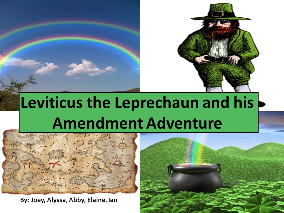 By: Joey, Alyssa, Abby, Elaine, Ian Leviticus the Leprechaun and his Amendment Adventure
