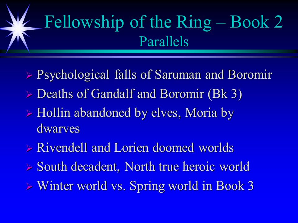 Fellowship of the Ring – Book 2 Parallels  Psychological falls of Saruman and Boromir  Deaths of Gandalf and Boromir (Bk 3)  Hollin abandoned by elves, Moria by dwarves  Rivendell and Lorien doomed worlds  South decadent, North true heroic world  Winter world vs.