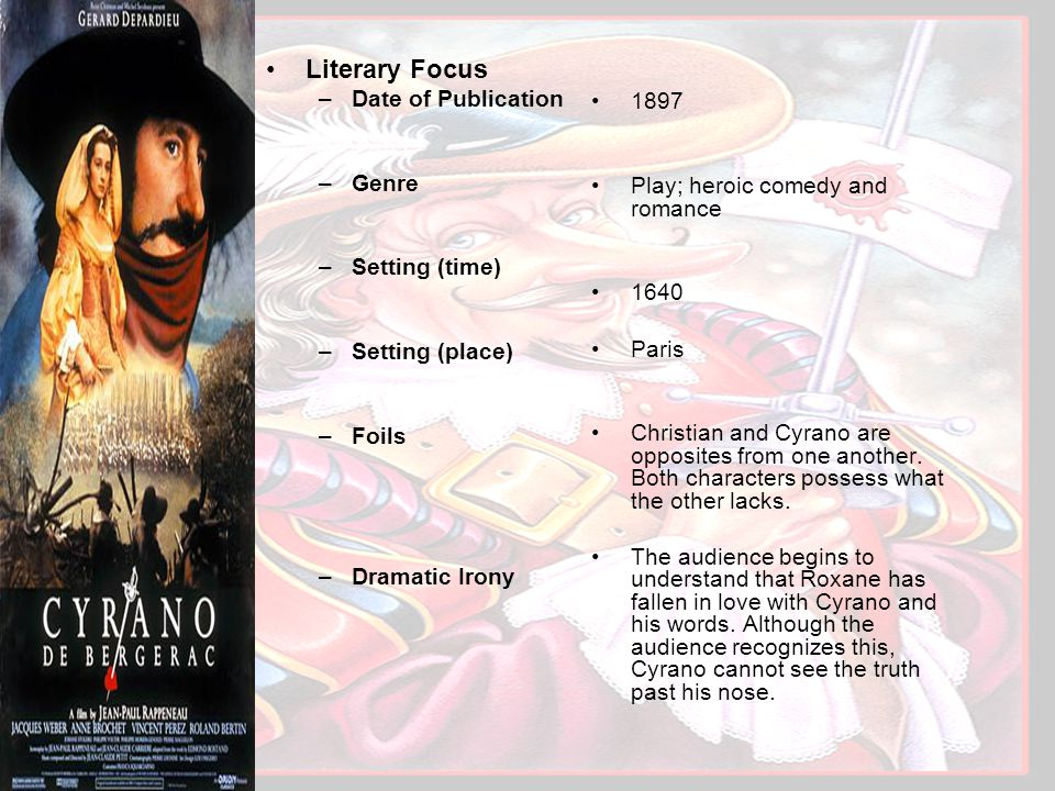 –Date of Publication –Genre –Setting (time) –Setting (place) –Foils –Dramatic Irony 1897 Play; heroic comedy and romance 1640 Paris Christian and Cyrano are opposites from one another.