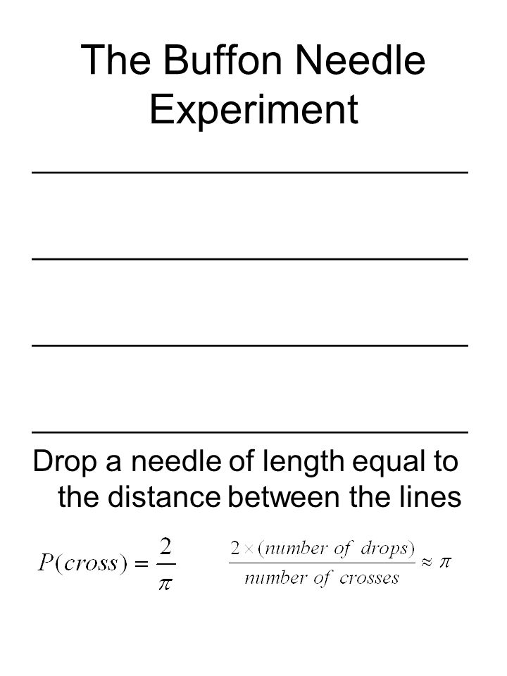 The Buffon Needle Experiment __________________________ Drop a needle of length equal to the distance between the lines