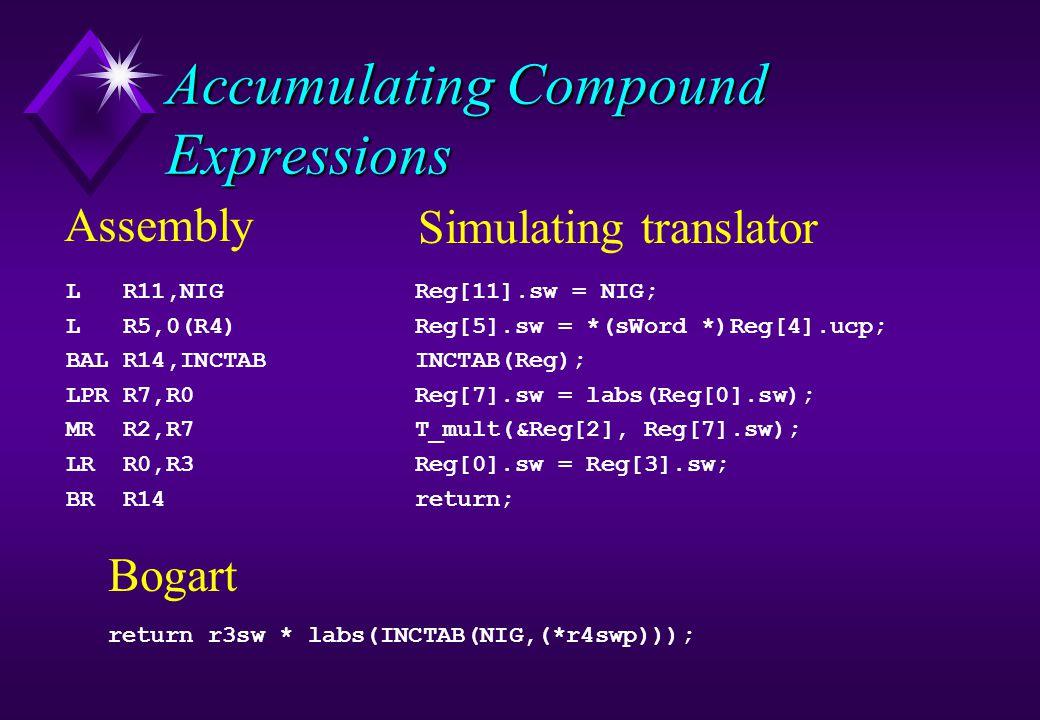 Accumulating Compound Expressions L R11,NIG L R5,0(R4) BAL R14,INCTAB LPR R7,R0 MR R2,R7 LR R0,R3 BR R14 Reg[11].sw = NIG; Reg[5].sw = *(sWord *)Reg[4