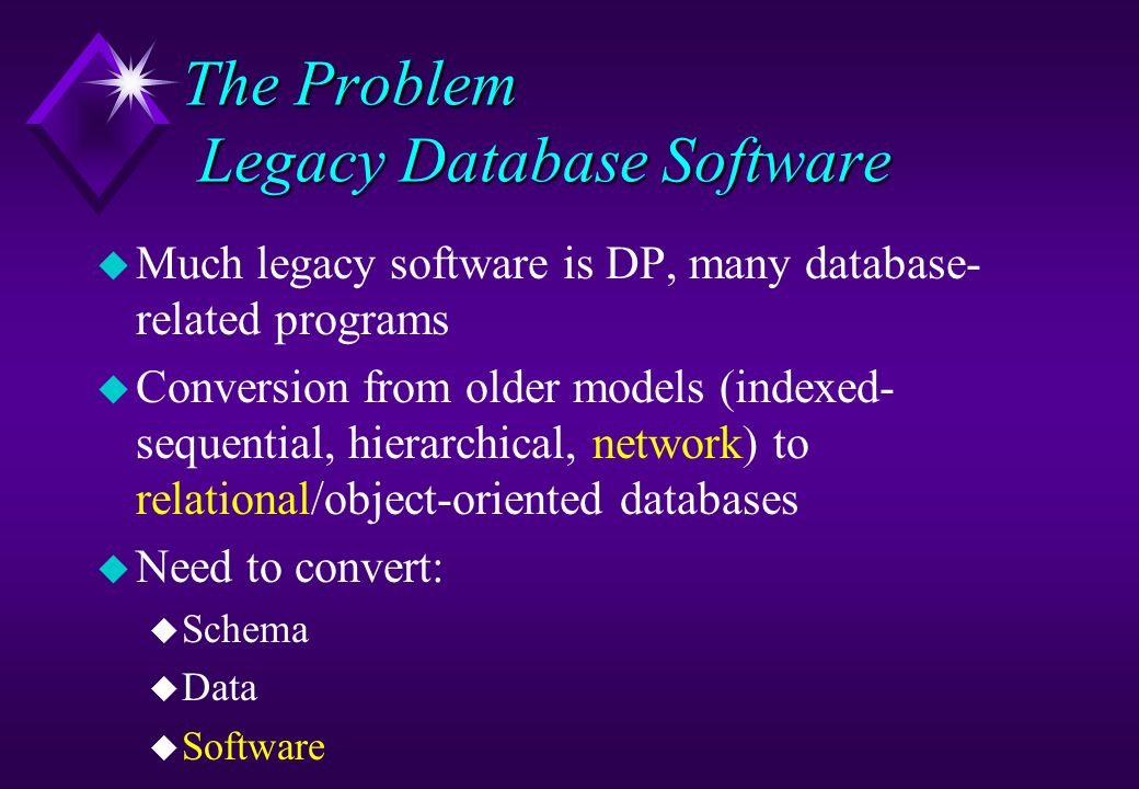 The Problem Legacy Database Software u Much legacy software is DP, many database- related programs u Conversion from older models (indexed- sequential, hierarchical, network) to relational/object-oriented databases u Need to convert: u Schema u Data u Software