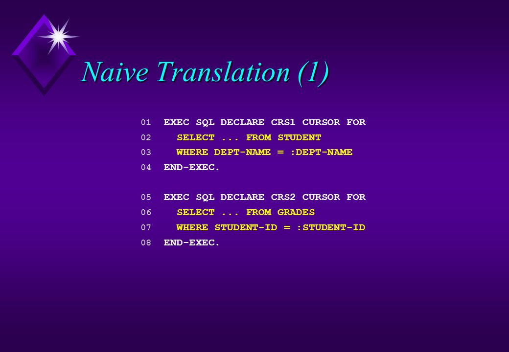 Naive Translation (1) 01 EXEC SQL DECLARE CRS1 CURSOR FOR 02 SELECT... FROM STUDENT 03 WHERE DEPT-NAME = :DEPT-NAME 04 END-EXEC. 05 EXEC SQL DECLARE C