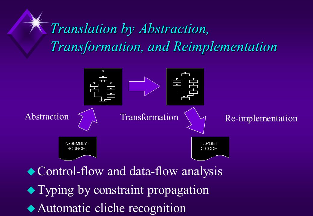 Translation by Abstraction, Transformation, and Reimplementation u Control-flow and data-flow analysis u Typing by constraint propagation u Automatic