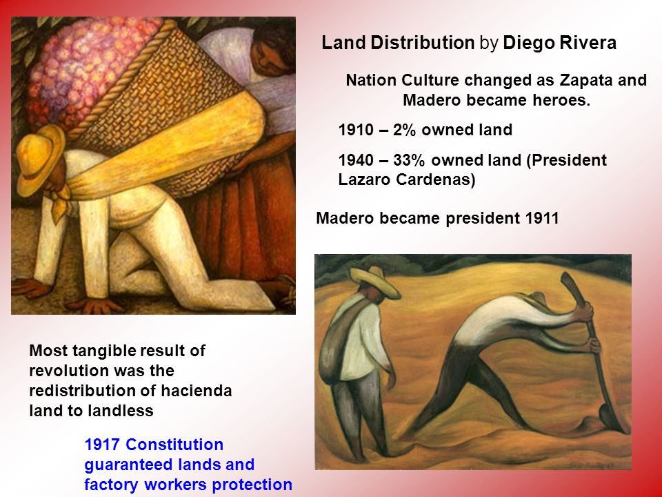Land Distribution by Diego Rivera Most tangible result of revolution was the redistribution of hacienda land to landless 1917 Constitution guaranteed