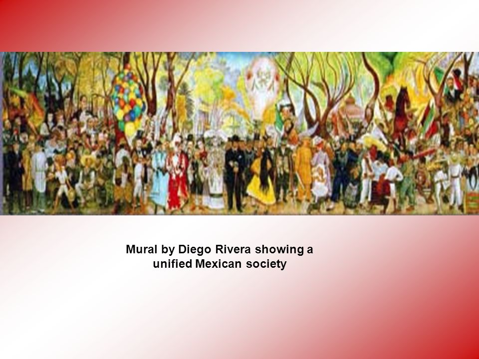 Mural by Diego Rivera showing a unified Mexican society