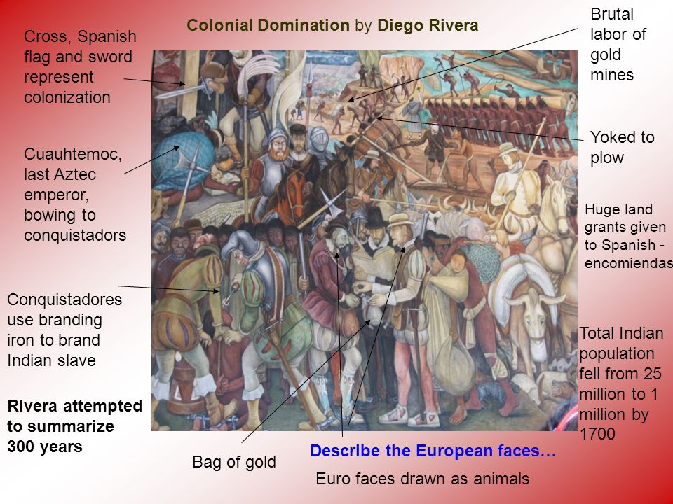 Colonial Domination by Diego Rivera Cross, Spanish flag and sword represent colonization Cuauhtemoc, last Aztec emperor, bowing to conquistadors Conqu