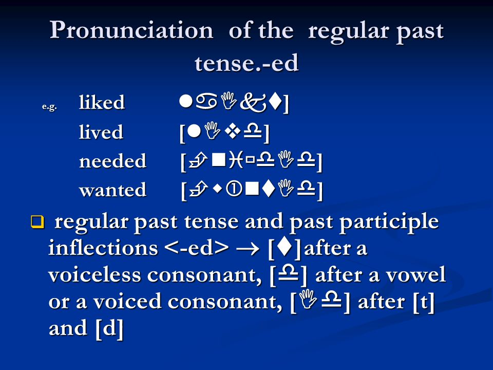 Pronunciation of the regular past tense.-ed e.g.liked  ] e.g.