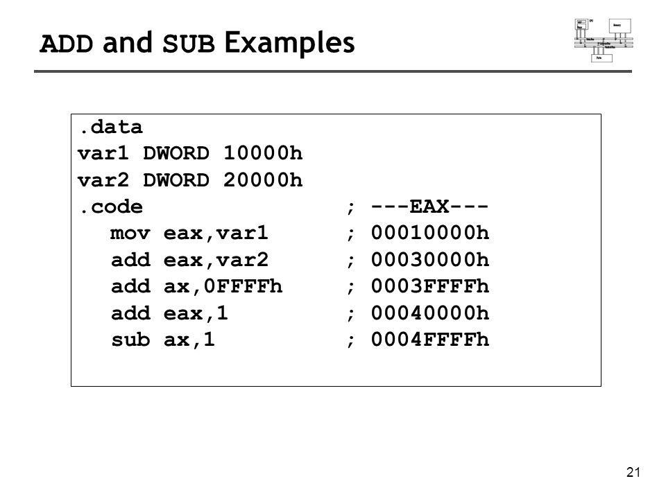 22 NEG (negate) Instruction.data valB BYTE -1 valW WORD +32767.code mov al,valB; AL = -1 neg al; AL = +1 neg valW; valW = -32767 Reverses the sign of an operand.
