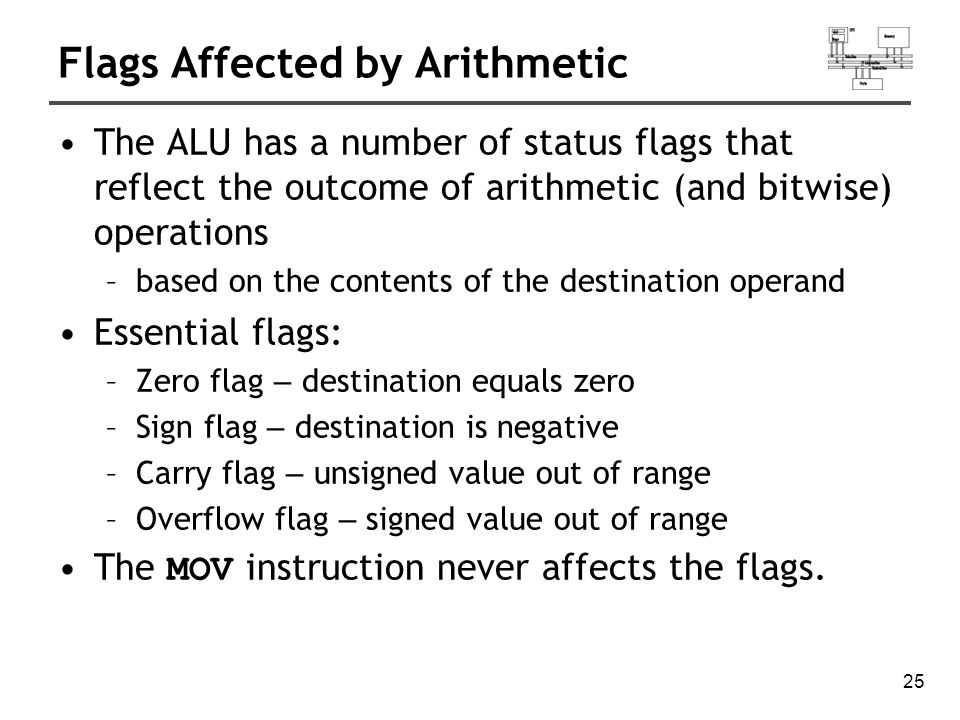 26 Zero Flag (ZF) mov cx,1 sub cx,1 ; CX = 0, ZF = 1 mov ax,0FFFFh inc ax ; AX = 0, ZF = 1 inc ax ; AX = 1, ZF = 0 Whenever the destination operand equals Zero, the Zero flag is set.
