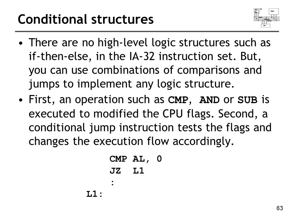 64 J cond instruction A conditional jump instruction branches to a label when specific register or flag conditions are met Jcond destination Four groups: (some are the same) 1.based on specific flag values 2.based on equality between operands 3.based on comparisons of unsigned operands 4.based on comparisons of signed operands