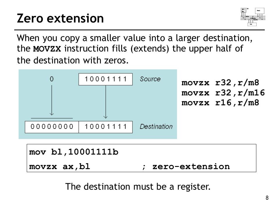 9 Sign extension mov bl,10001111b movsx ax,bl; sign extension The MOVSX instruction fills the upper half of the destination with a copy of the source operand s sign bit.