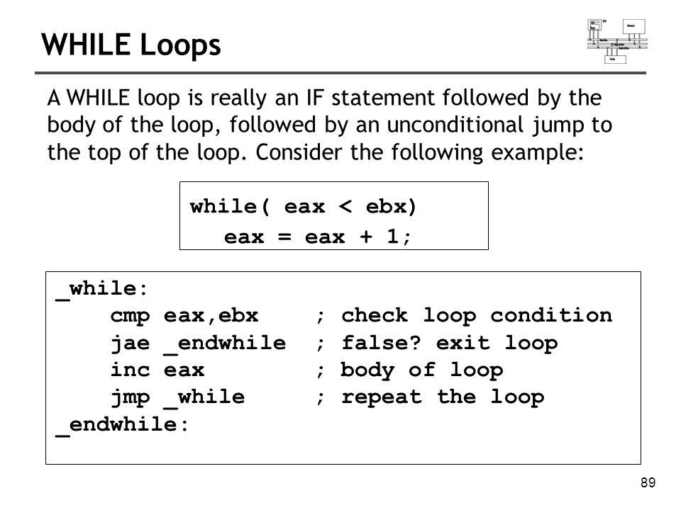 90 Exercise..._while: cmp ebx,val1 ; check loop condition ja _endwhile ; false.