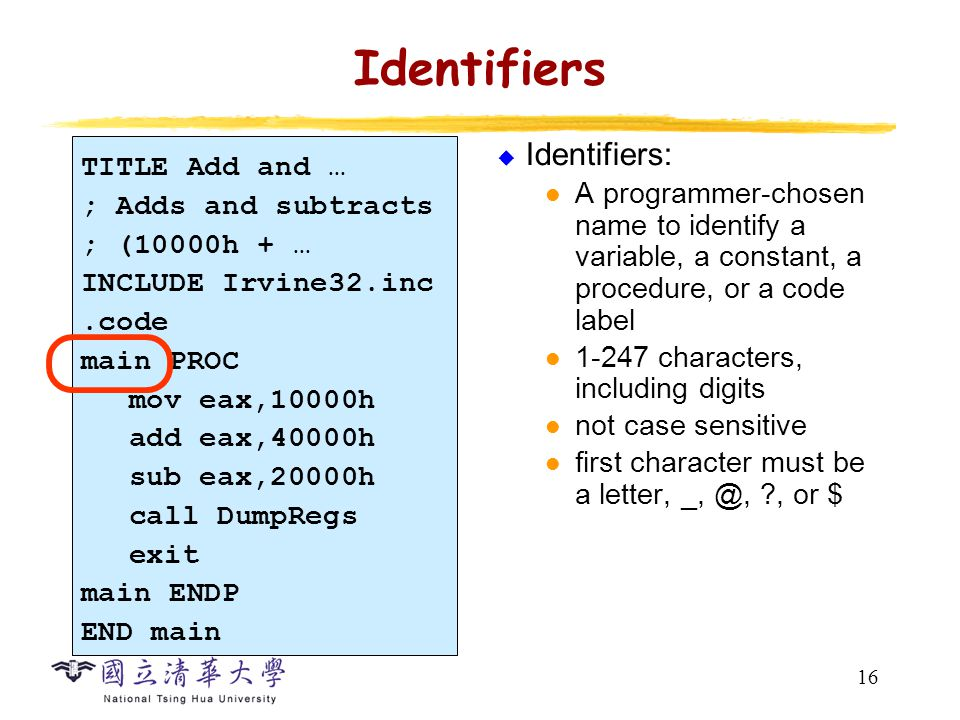16 Identifiers  Identifiers: A programmer-chosen name to identify a variable, a constant, a procedure, or a code label 1-247 characters, including di