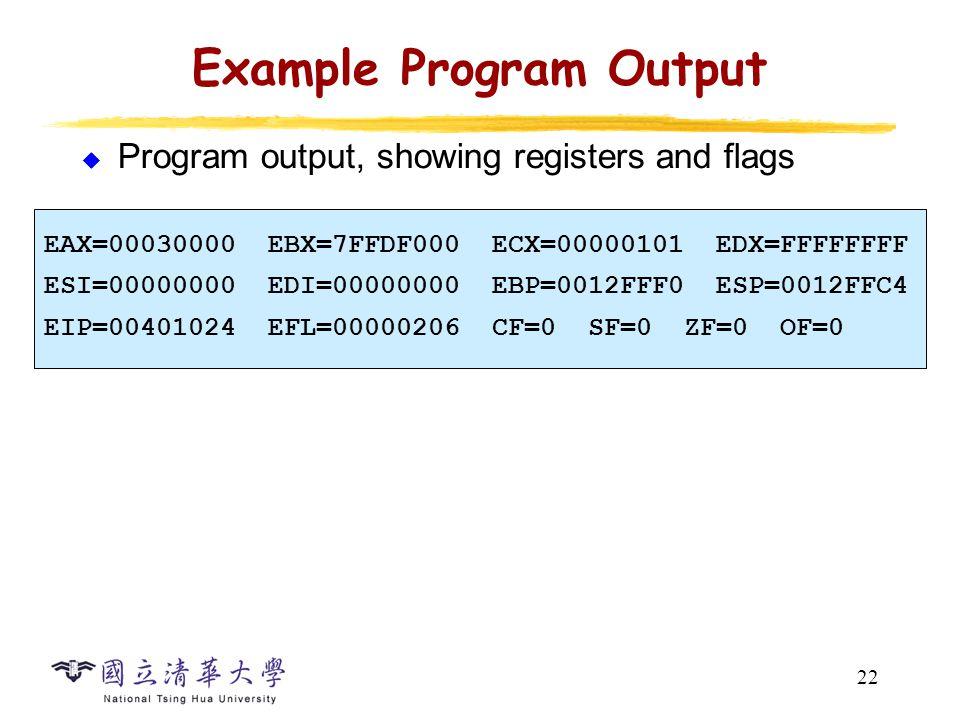 22 Example Program Output  Program output, showing registers and flags EAX=00030000 EBX=7FFDF000 ECX=00000101 EDX=FFFFFFFF ESI=00000000 EDI=00000000 EBP=0012FFF0 ESP=0012FFC4 EIP=00401024 EFL=00000206 CF=0 SF=0 ZF=0 OF=0