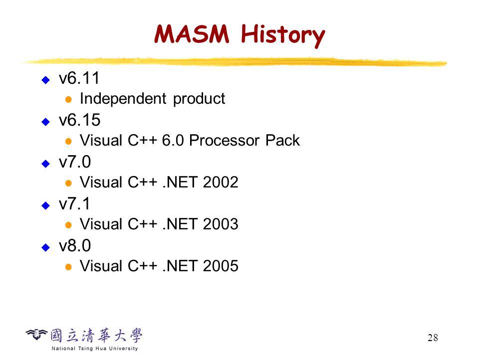28 MASM History  v6.11 Independent product  v6.15 Visual C++ 6.0 Processor Pack  v7.0 Visual C++.NET 2002  v7.1 Visual C++.NET 2003  v8.0 Visual C++.NET 2005