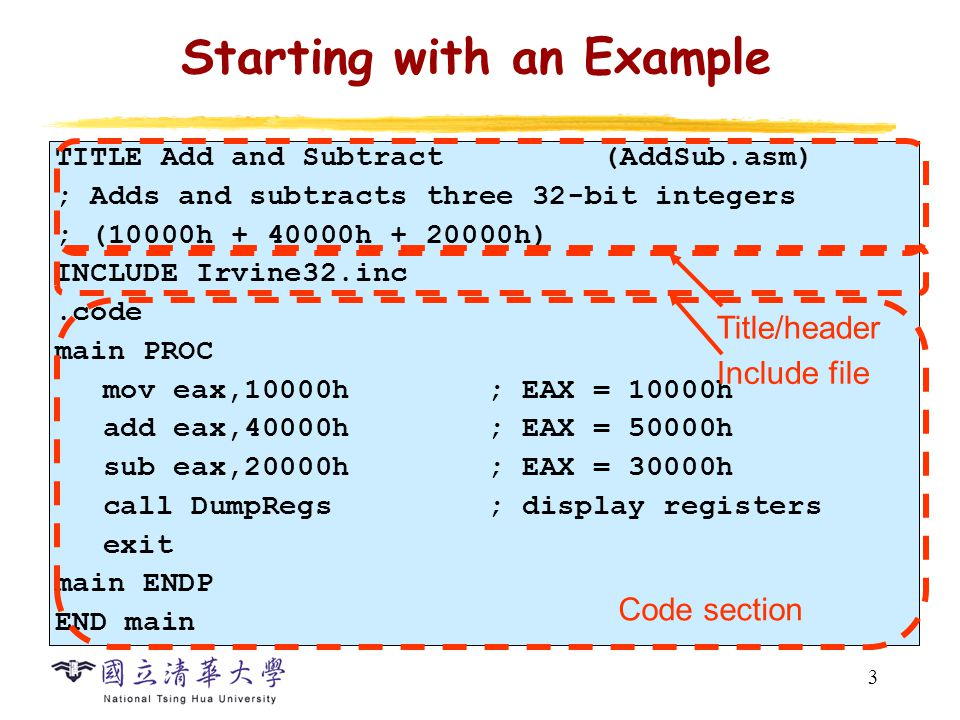 4 Meanings of the Code Assembly code Machine code MOV EAX, 10000hB8 00010000 (Move 10000h into EAX) ADD EAX, 40000h05 00040000 (Add 40000h to EAX) SUB EAX, 20000h2D 00020000 (SUB 20000h from EAX) 4 Operand in instruction