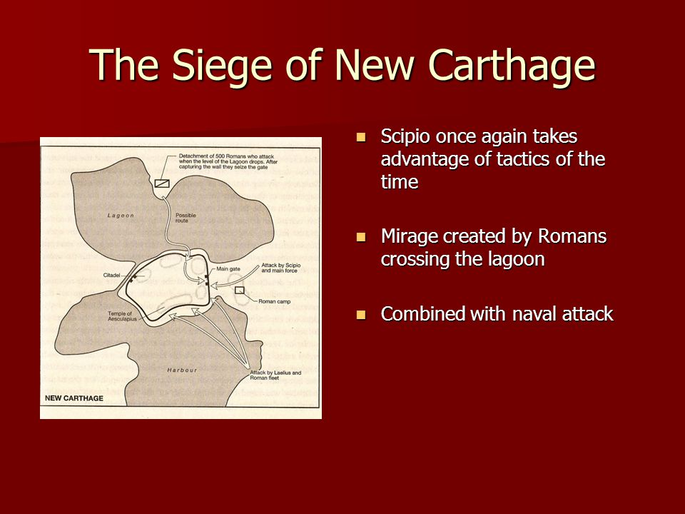 The Siege of New Carthage Scipio once again takes advantage of tactics of the time Scipio once again takes advantage of tactics of the time Mirage cre