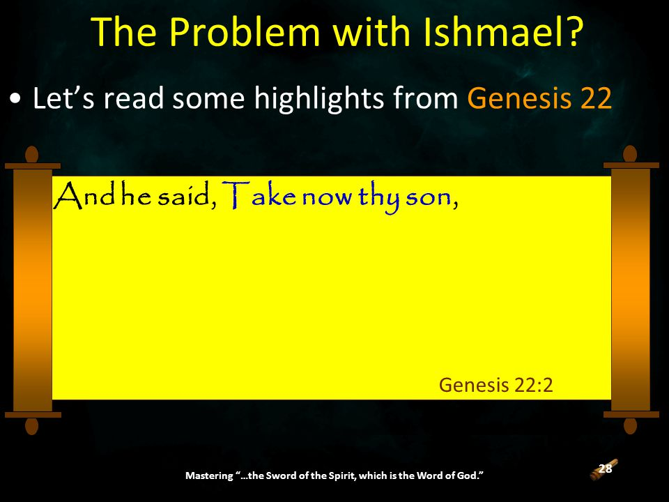 28 Mastering …the Sword of the Spirit, which is the Word of God. The Problem with Ishmael.