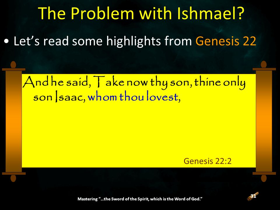 31 Mastering …the Sword of the Spirit, which is the Word of God. The Problem with Ishmael.