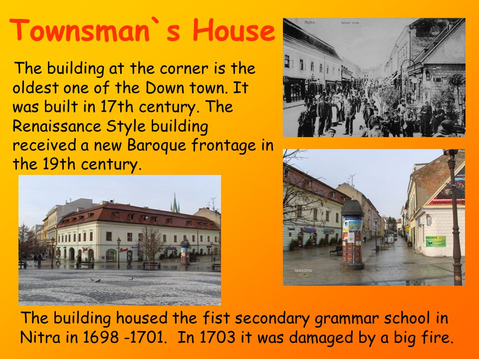 Townsman`s House The building at the corner is the oldest one of the Down town.