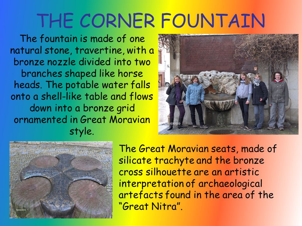 The fountain is made of one natural stone, travertine, with a bronze nozzle divided into two branches shaped like horse heads.