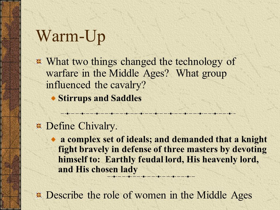 Warm-Up What two things changed the technology of warfare in the Middle Ages.