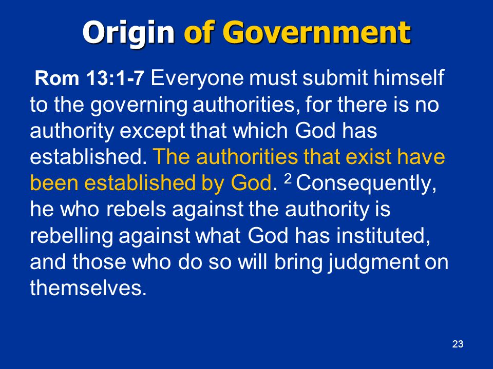 Origin of Government Rom 13:1-7 Everyone must submit himself to the governing authorities, for there is no authority except that which God has established.