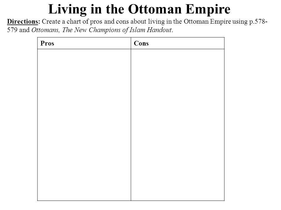 Living in the Ottoman Empire Directions: Create a chart of pros and cons about living in the Ottoman Empire using p.578- 579 and Ottomans, The New Champions of Islam Handout.