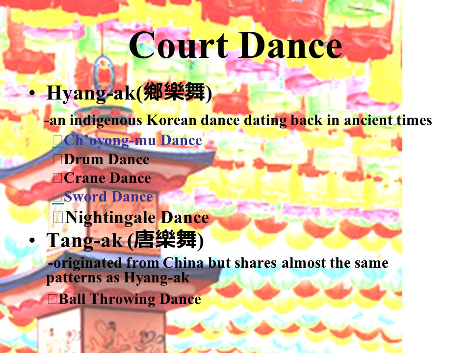 Court Dance Hyang-ak( 鄉樂舞 ) -an indigenous Korean dance dating back in ancient times ◇ Ch'oyong-mu Dance ◇ ◇ Drum Dance ◇ Crane Dance ◇ Sword Dance ◇