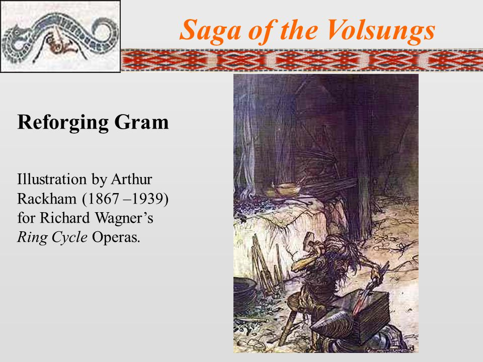 Saga of the Volsungs Reforging Gram Illustration by Arthur Rackham (1867 –1939) for Richard Wagner's Ring Cycle Operas.