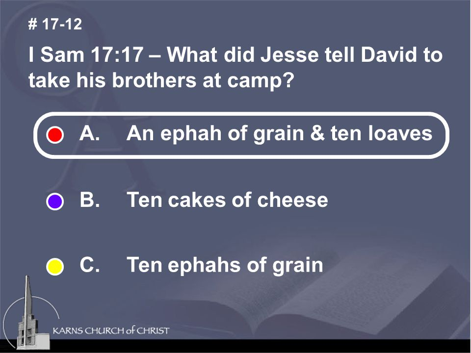 I Sam 17:17 – What did Jesse tell David to take his brothers at camp.