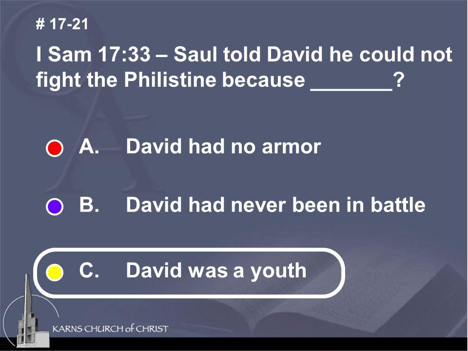 A. David had no armor B. David had never been in battle C.