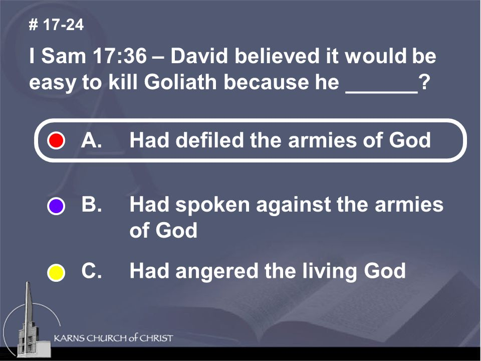 I Sam 17:36 – David believed it would be easy to kill Goliath because he ______.