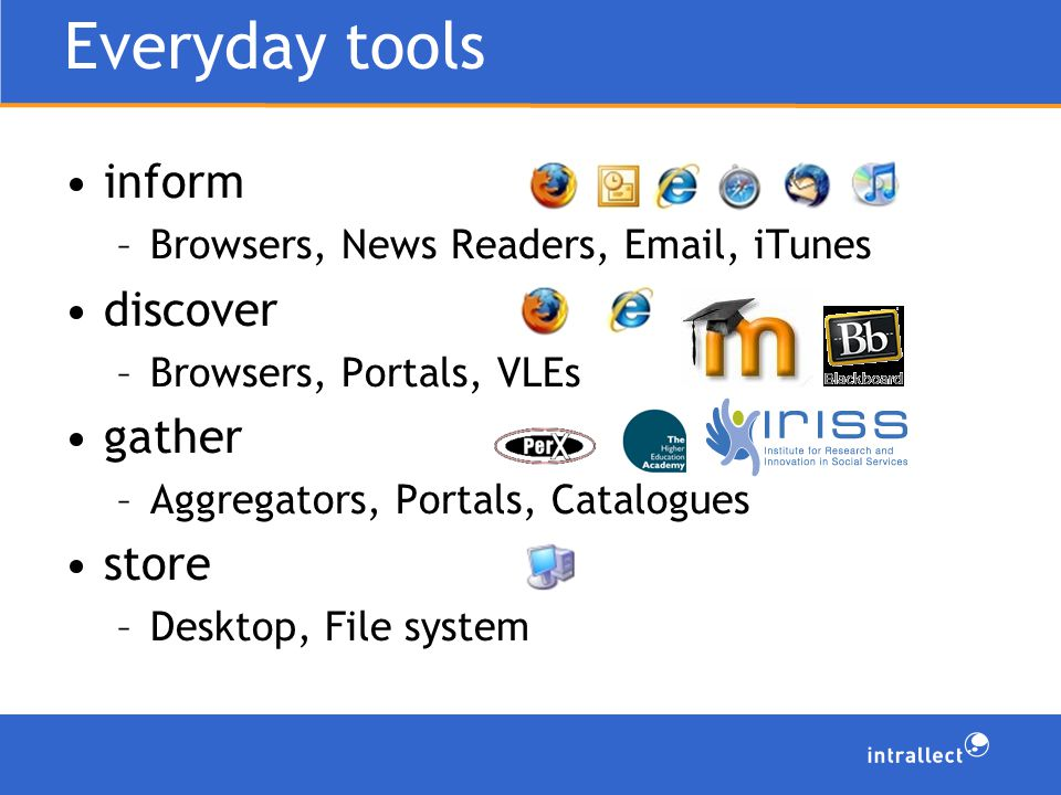 Everyday tools inform –Browsers, News Readers, Email, iTunes discover –Browsers, Portals, VLEs gather –Aggregators, Portals, Catalogues store –Desktop, File system