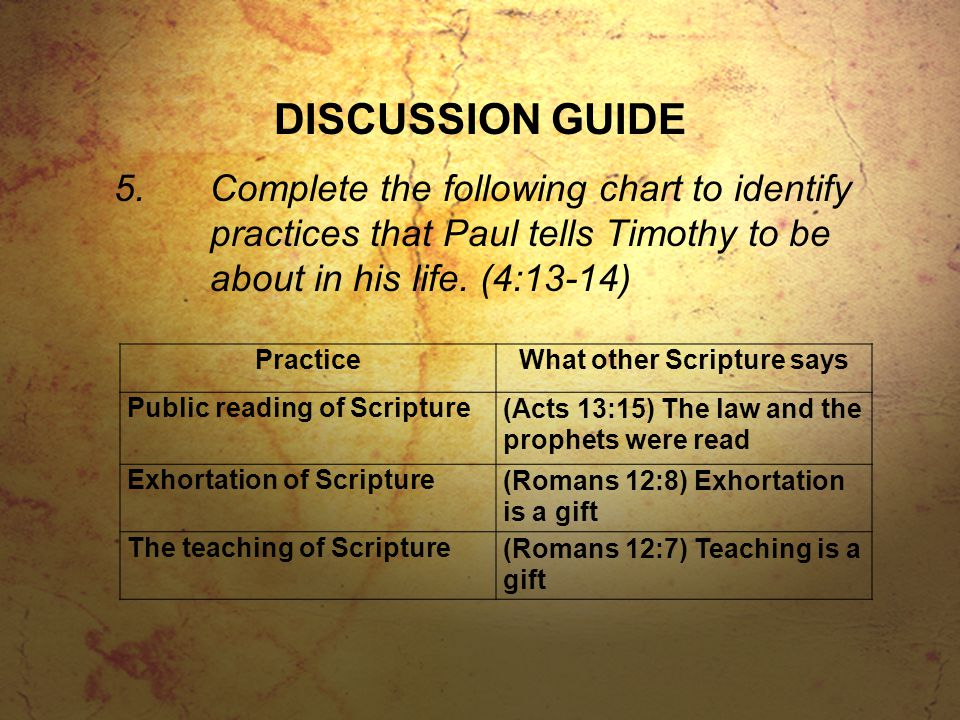 DISCUSSION GUIDE 5.Complete the following chart to identify practices that Paul tells Timothy to be about in his life. (4:13-14) PracticeWhat other Sc