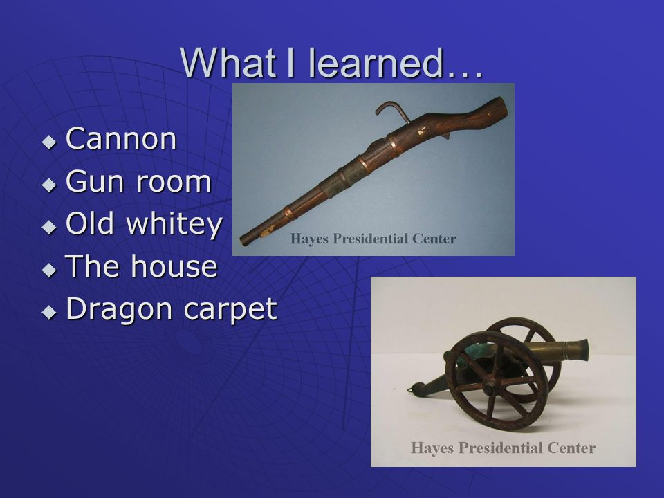What I learned…  Cannon  Gun room  Old whitey  The house  Dragon carpet