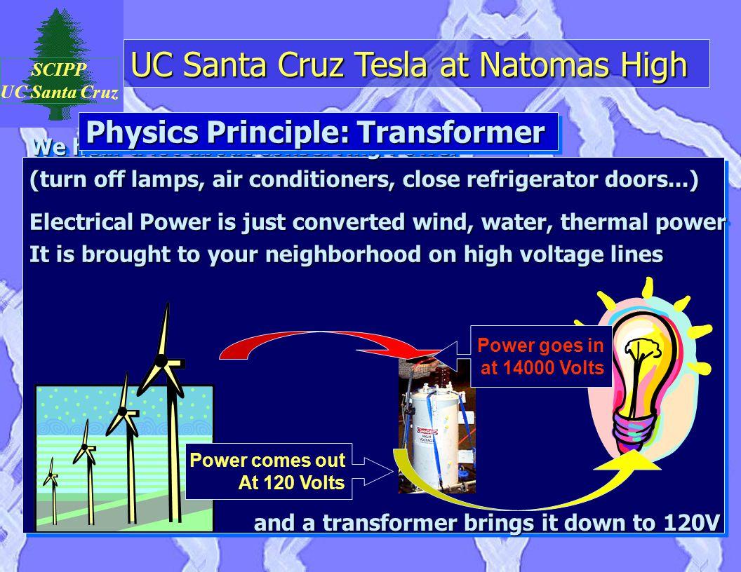 UC Santa Cruz Tesla at Natomas High SCIPP UC Santa Cruz We hear a lot about conserving Power (turn off lamps, air conditioners, close refrigerator doo