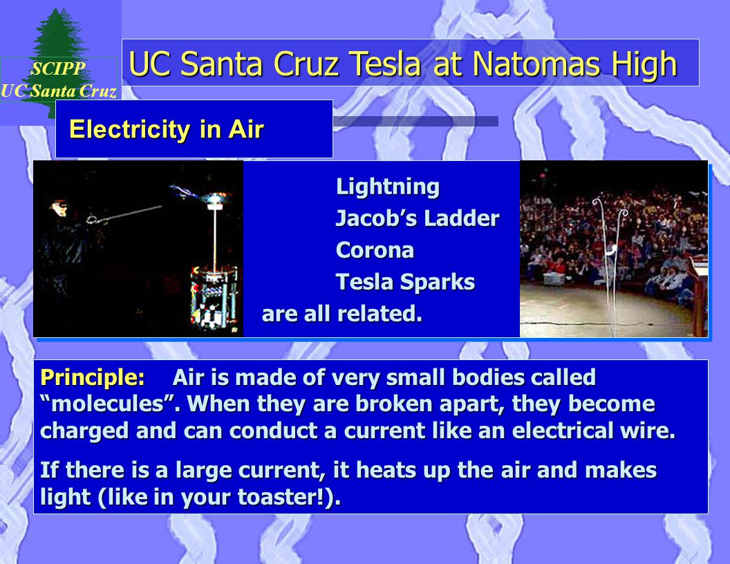 UC Santa Cruz Tesla at Natomas High SCIPP UC Santa Cruz Lightning Jacob's Ladder Corona Tesla Sparks are all related.