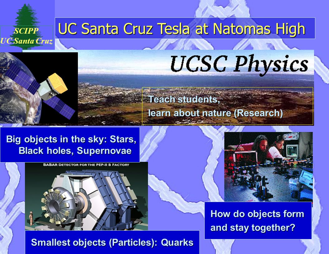 UC Santa Cruz Tesla at Natomas High SCIPP UC Santa Cruz Teach students, learn about nature (Research) Smallest objects (Particles): Quarks How do obje