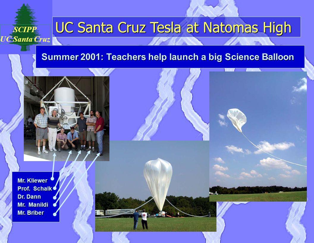 UC Santa Cruz Tesla at Natomas High SCIPP UC Santa Cruz Summer 2001: Teachers help launch a big Science Balloon Mr. Kliewer Prof. Schalk Dr. Dann Mr.