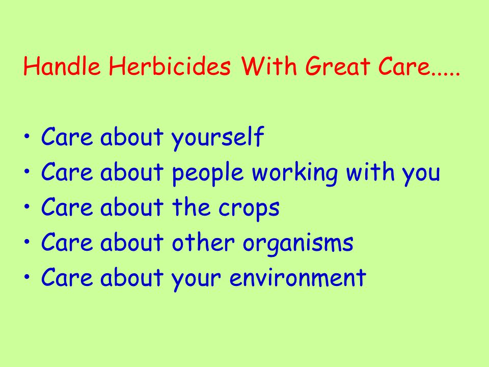 Handle Herbicides With Great Care..... Care about yourself Care about people working with you Care about the crops Care about other organisms Care abo